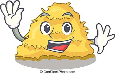 Waving hay bale character cartoon vector illustration
