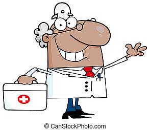 Waving Hispanic Male Doctor