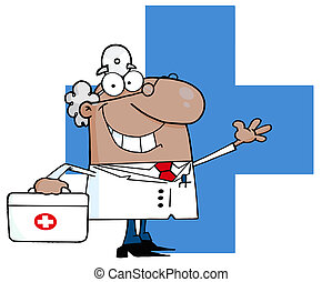 Waving Hispanic Male Doctor
