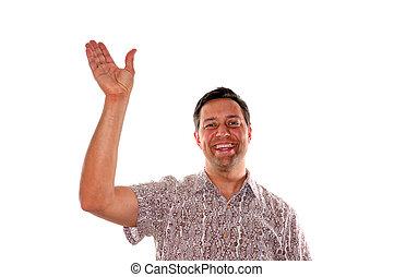 waving, homem jovem