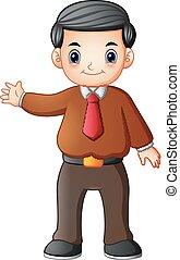 waving, homem negócios, caricatura