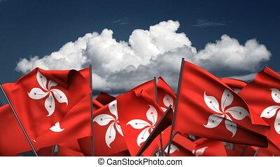 Waving Hong Kong Flags (seamless & alpha channel)