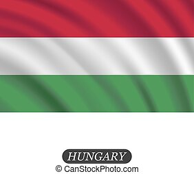 Waving Hungary flag on a white background. Vector illustration