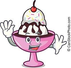 Waving ice cream sundae character cartoon vector...