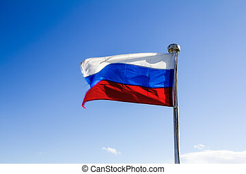 Waving in the wind flag of the Russian Federation