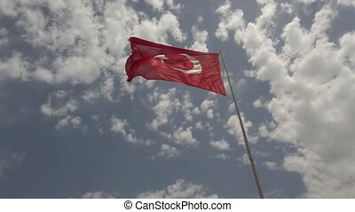 Waving in the wind flag of Turkey Republic on the flagpole ...
