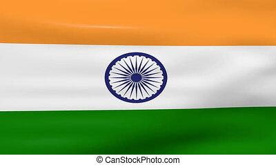 Waving India Flag, loop ready
