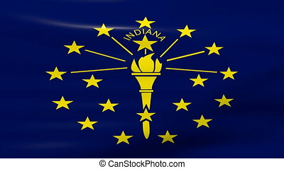 Waving Indiana State Flag, ready for seamless loop.