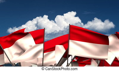 Waving Indonesian Flags (seamless & alpha channel)