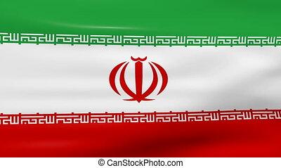Waving Iran Flag, loop ready.