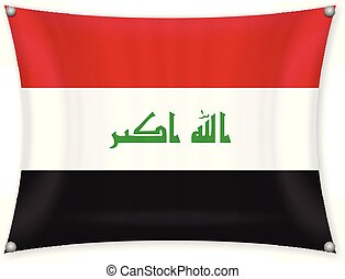 Waving Iraq flag on a white background.