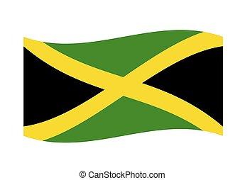 Waving Jamaica Flag vector illustration