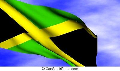 Waving Jamaica Flag - Waving Jamaica flag over sky with...