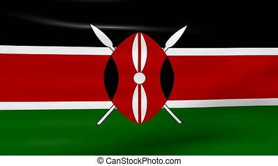 Waving Kenya Flag, ready for seamless loop.
