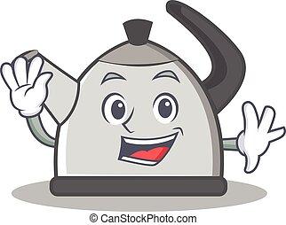 Waving kettle character cartoon style vector illustration