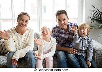 waving, kids, семья, рука, ищу, камера, портрет, счастливый