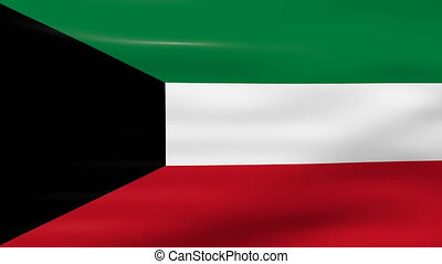 Waving Kuwait Flag, ready for seamless loop.