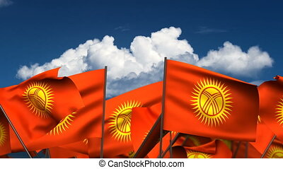 Waving Kyrgyzstan Flags (seamless & alpha channel)