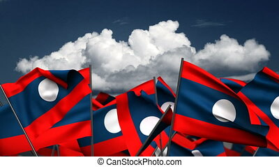 Waving Laos Flags (seamless & alpha channel)