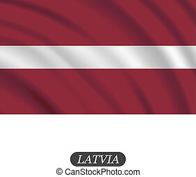 Waving Latvia flag on a white background. Vector...