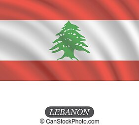 Waving Lebanon flag on a white background. Vector illustration