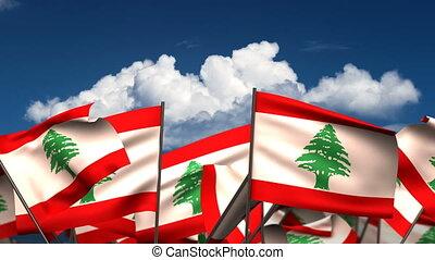 Waving Lebanon Flags