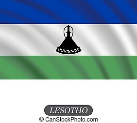 Waving Lesotho flag on a white background. Vector illustration