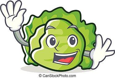 Waving lettuce character cartoon style