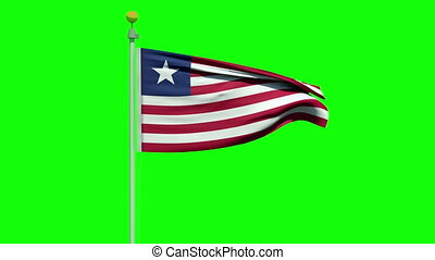 Waving Liberian flag green screen