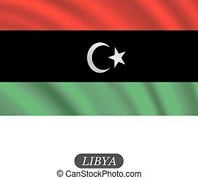 Waving Libya flag on a white background. Vector illustration