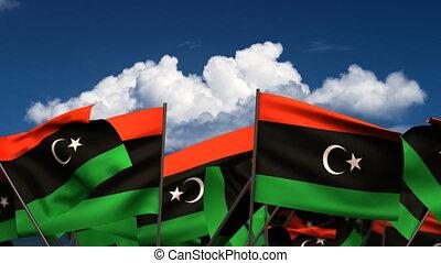 Waving Libyan Flags (seamless & alpha channel)