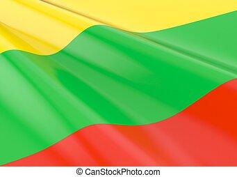 Waving lithuanian flag concept