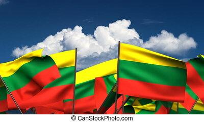 Waving Lithuanian Flags (seamless & alpha channel)
