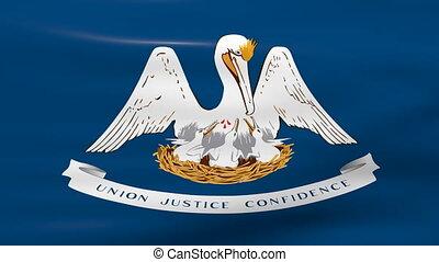Waving Louisiana State Flag