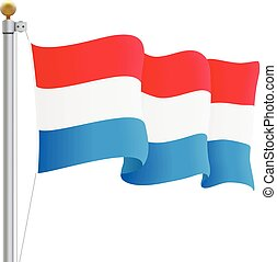 Waving Luxembourg Flag Isolated On A White Background....