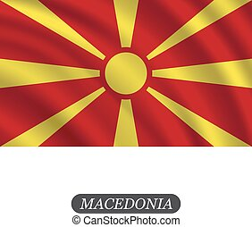 Waving Macedonia flag on a white background. Vector illustration