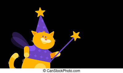 Waving Magic Wand Cat Magician. Character Animation. Motion...