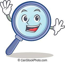 Waving magnifying glass character cartoon