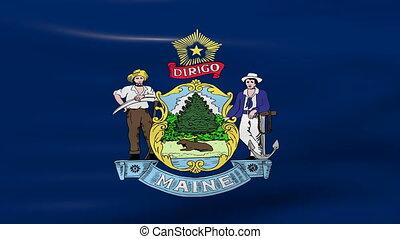 Waving Maine State Flag