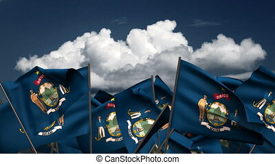 Waving Maine State Flags (seamless & alpha channel)