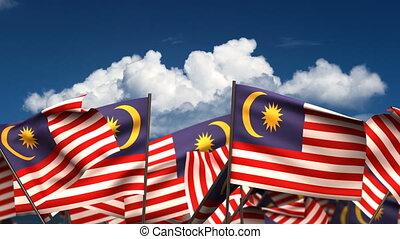 Waving Malaysian Flags (seamless & alpha channel)