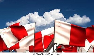 Waving Malta Flags (seamless & alpha channel)