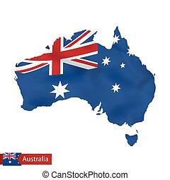 waving, mapa, bandeira, austrália, country.