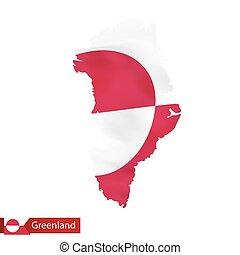 waving, mapa, bandeira, gronelândia, country.