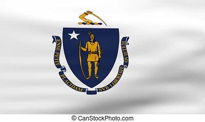 Waving Massachusetts State Flag, ready for seamless loop.