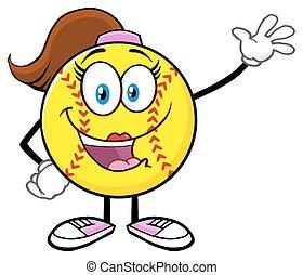 waving, menina, saudação, softball