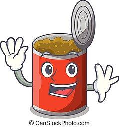 Waving metal food cans on a cartoon vector illustration