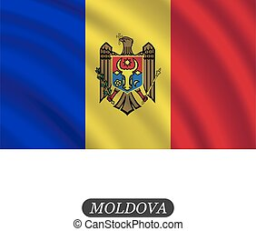 Waving Moldova flag on a white background. Vector illustration