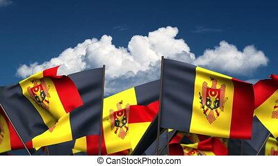 Waving Moldovan Flags