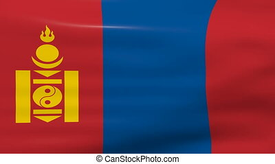 Waving Mongolia Flag, ready for seamless loop.